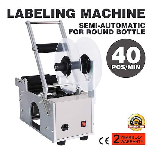 Mophorn Round Bottle Labeling Machine Adjustable Labeling Bottle Label Applicator Stainless Steel Bottle Labeler